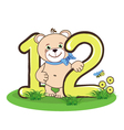 The number twelve and cheerful bear vector image