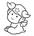 black and white sheep character sits aside signs vector image