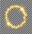 Gold glow glitter circle frame with stars on vector image
