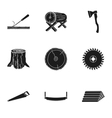 Sawmil and timber set icons in black style Big vector image