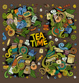 Tea time doodles design vector image
