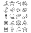 thin and simple marine and nautical icons set vector image