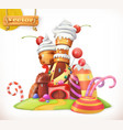 sweet castle gingerbread house cake cupcake candy vector image