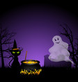 Halloween ghost and black cat with cauldronai vector image