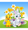 Cartoon happy duck and bunny with colorful Easter vector image
