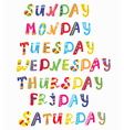 Days of the week funny banners vector image