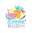 hello summer logo template original design vector image
