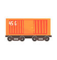 orange cargo wagon colorful cartoon vector image