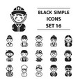 proffesion set icons in black style big vector image
