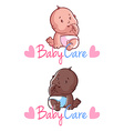 Two toddler on a white background Baby car vector image