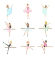 allet Dancers In Different Poses Rehearsing Set vector image
