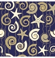 Seamless pattern with shells and stars vector image vector image