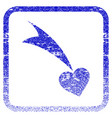 falling heart framed textured icon vector image