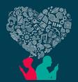 social media elder love hand made icons concept vector image