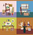 art studio interiors square concept vector image