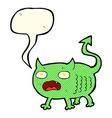 cartoon little imp with speech bubble vector image