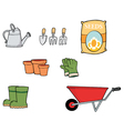 Collage Of Gardening Tools vector image
