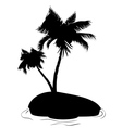 Palm Tree on Island Silhouette vector image