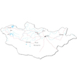 Mongolia Black White Map vector image