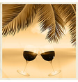 Vintage sepia tropical scene with wine glasses vector image vector image
