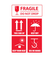 fragile sticker set vector image