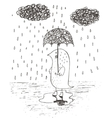 hand drawn rain umbrella vector image