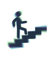 Man on stairs going up colorful icon vector image
