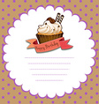 Paper template with cupcake for birthday vector image