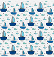 pattern with cute whale and sailboat vector image