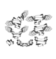 set of strips with wings vector image