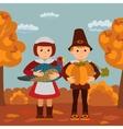 Thanksgiving day children pumpkin and turkey vector image