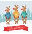 three deer dance Winter forest landscape Postcard vector image