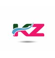 Letter k and z logo vector image
