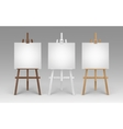 Set of Wooden Easels with Blank Square Canvases vector image