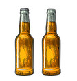 open and close beer bottle vintage black and vector image vector image