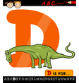 letter d with dinosaur cartoon vector image