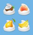 fruit and yogurt banana pear peach and coconut vector image