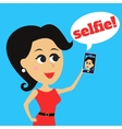 Girl makes selfie vector image