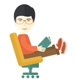 Asian Man sitting with a book vector image