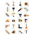 Black orange contruction icons set vector image