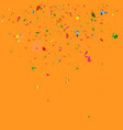 colorful confetti falling on orange background vector image
