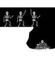 Halloween Greetings Skeleton Jump vector image