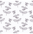 Hand drawn mint branch outline seamless pattern vector image