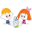 Little boy and girl drinking milk vector image