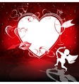Red background with hearts and Cupid vector image