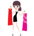 young woman with hangers vector image