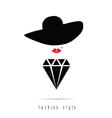diamond girl icon fashion style vector image