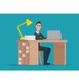 Office worker man behind a desktop creative color vector image