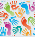 handprints amp footprints 3d seamless wallpaper vector image vector image