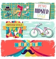 Hipster horizontal banners in retro style vector image